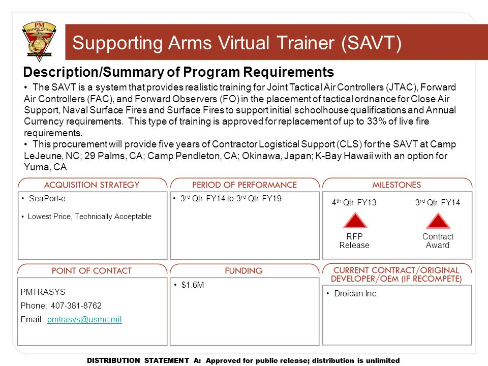 Supporting Arms Virtual Trainer (SAVT)