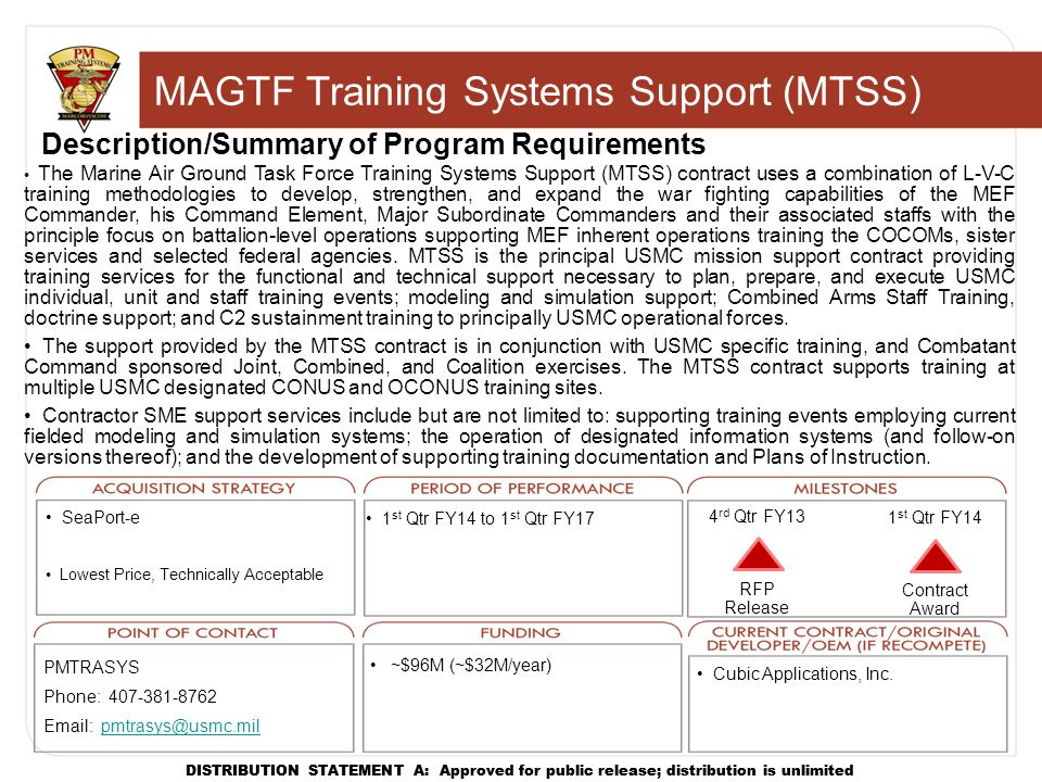 MAGTF Training Systems Support (MTSS)