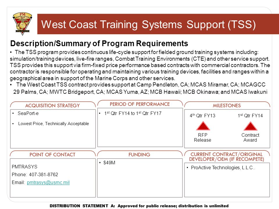 West Coast Training Systems Support (TSS)
