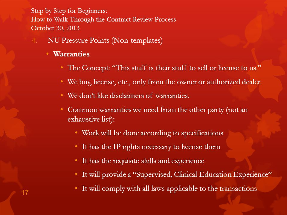 NU Pressure Points (Non-templates) Warranties