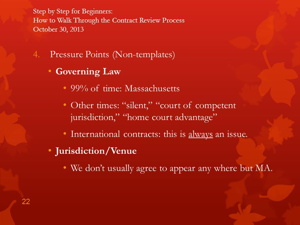 Pressure Points (Non-templates) Governing Law