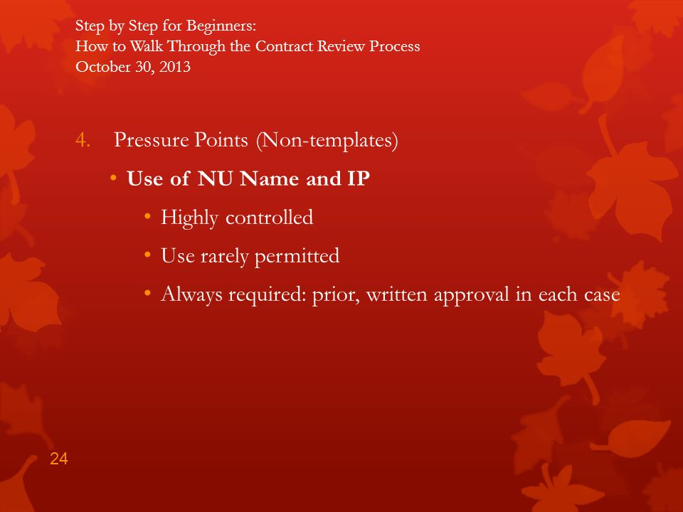 Pressure Points (Non-templates) Use of NU Name and IP