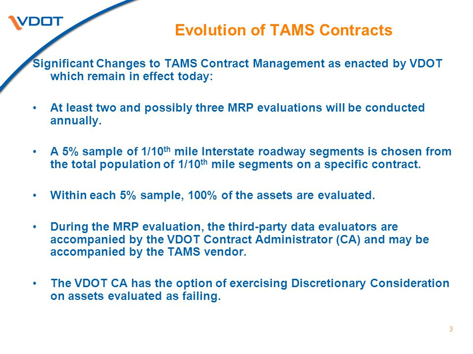 Evolution of TAMS Contracts