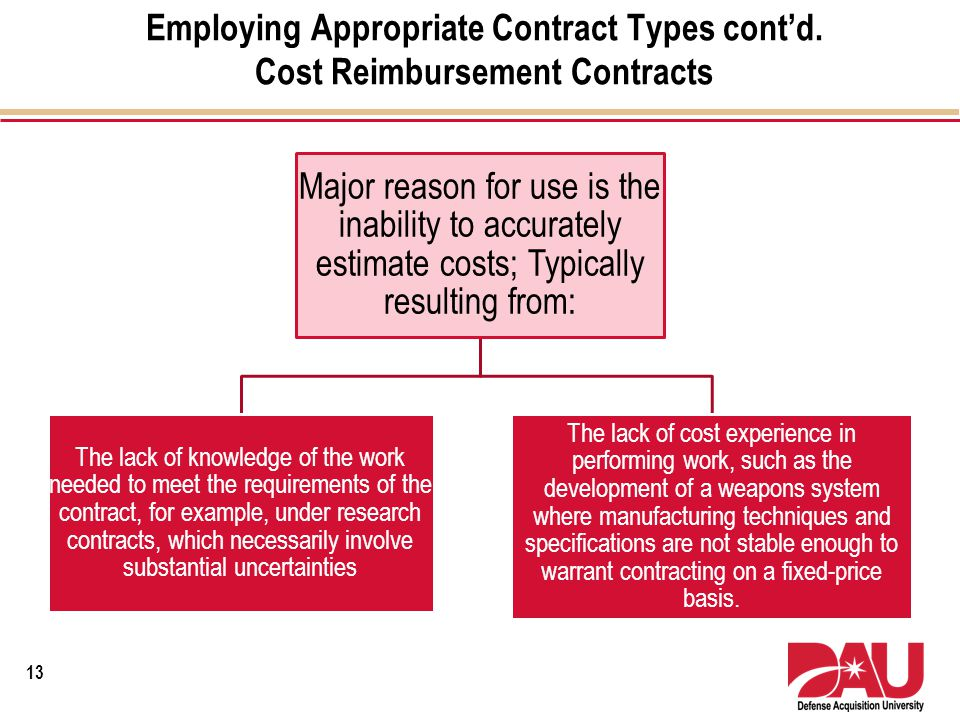Employing Appropriate Contract Types cont'd