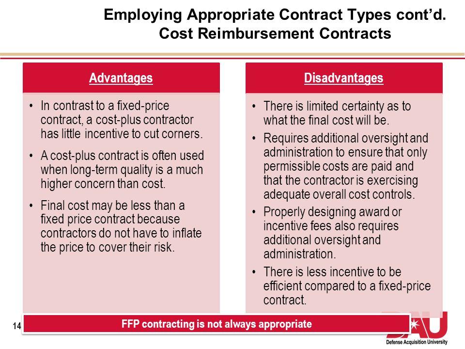 FFP contracting is not always appropriate