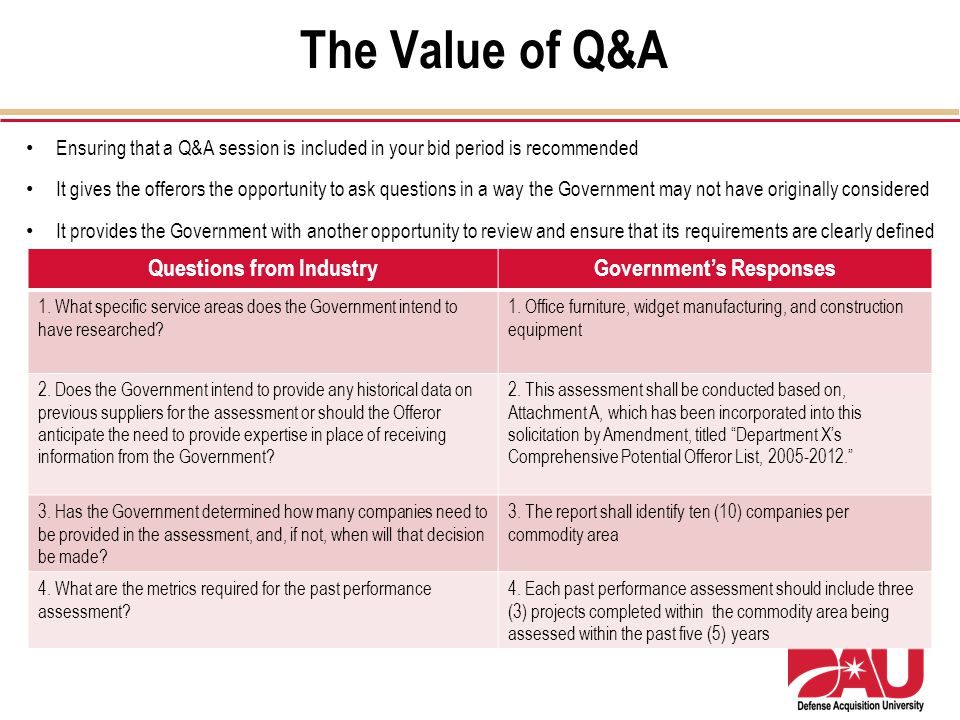 Questions from Industry Government's Responses