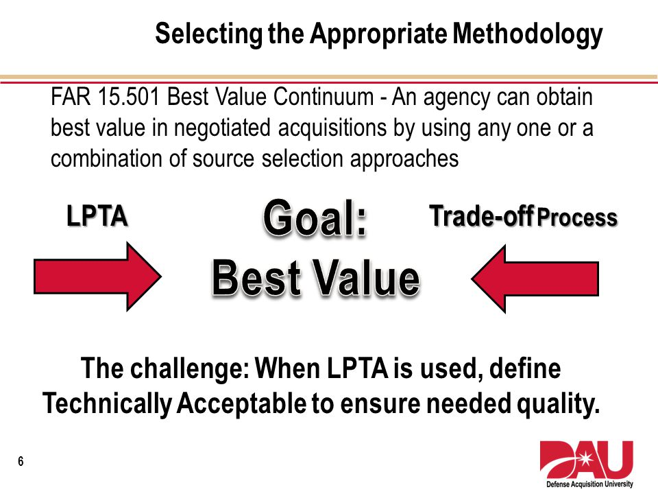 Goal: Best Value Selecting the Appropriate Methodology LPTA