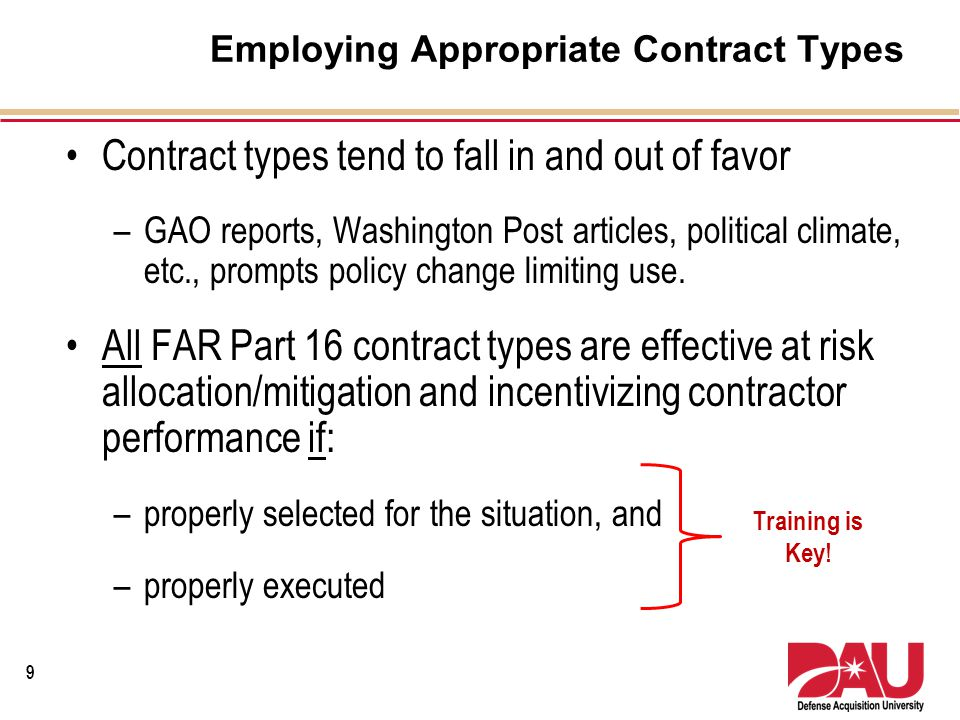 Employing Appropriate Contract Types