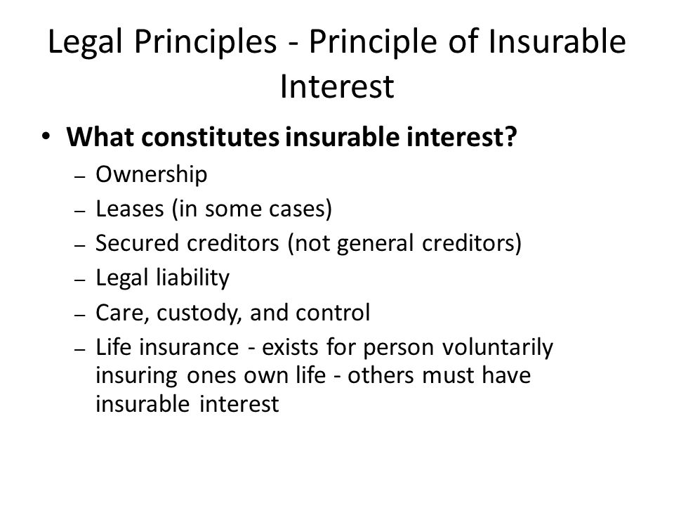 Legal Principles - Principle of Insurable Interest
