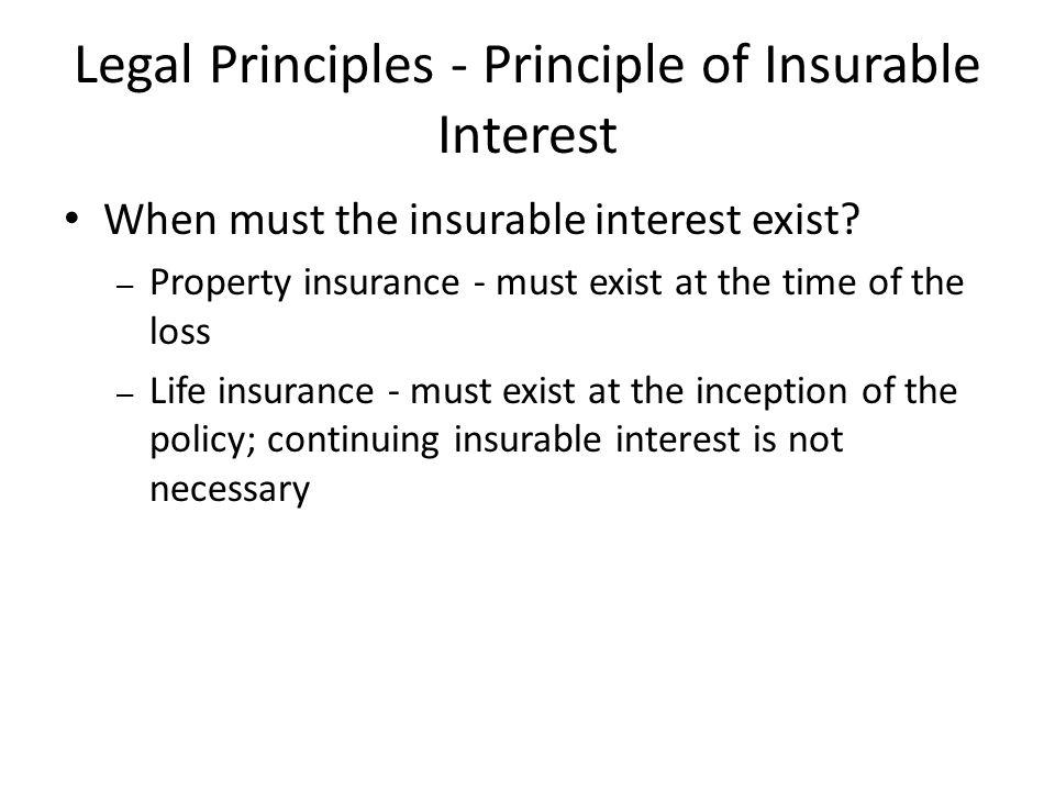 Legal Principles - Principle of Insurable Interest