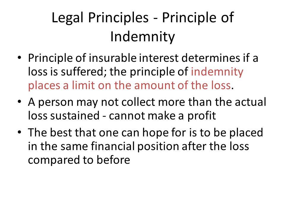 Legal Principles - Principle of Indemnity