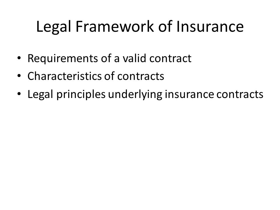 Legal Framework of Insurance