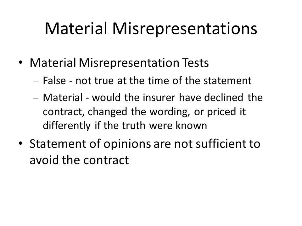 Material Misrepresentations