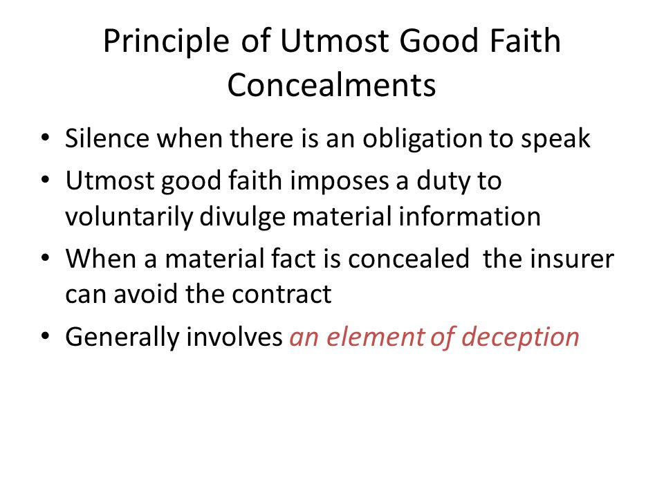 Principle of Utmost Good Faith Concealments