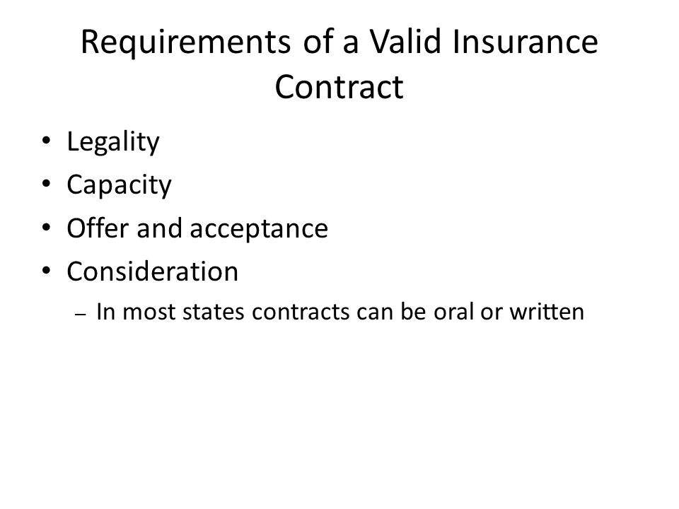 Requirements of a Valid Insurance Contract