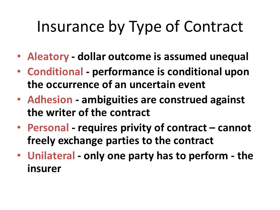Insurance by Type of Contract