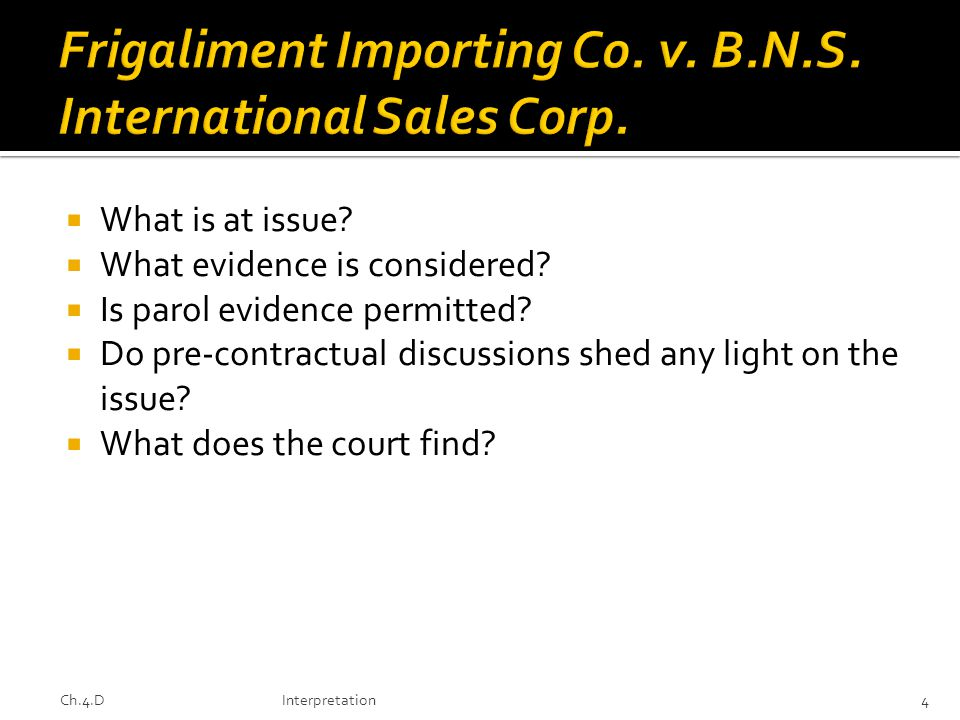 Frigaliment Importing Co. v. B.N.S. International Sales Corp.