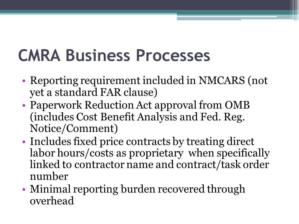 CMRA Business Processes