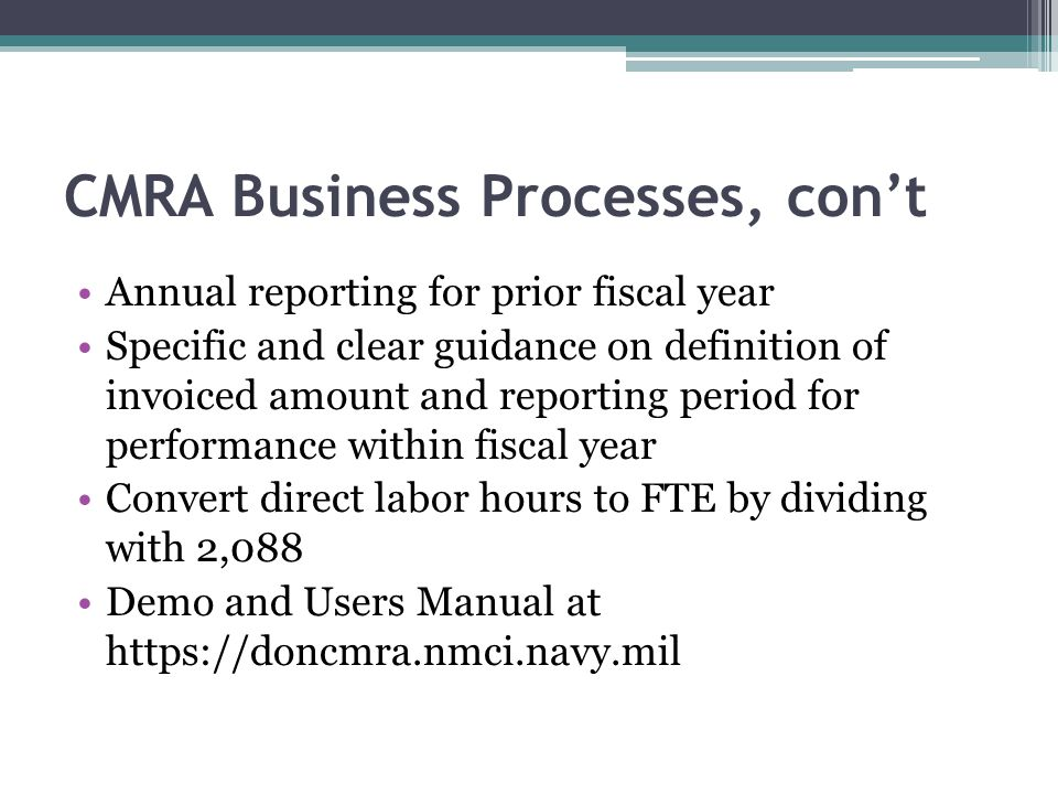 CMRA Business Processes, con't