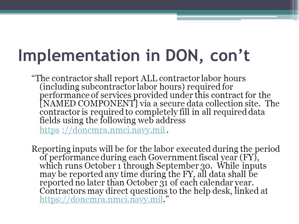 Implementation in DON, con't