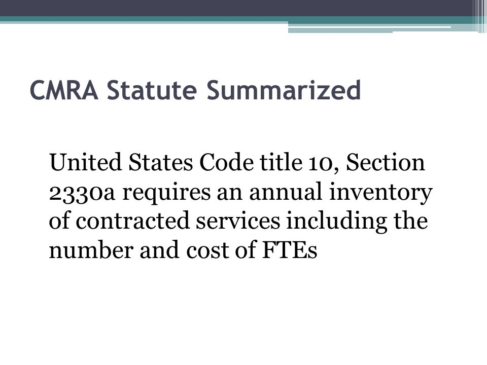 CMRA Statute Summarized