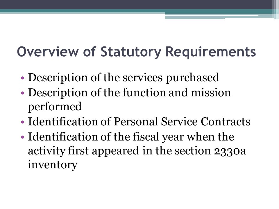 Overview of Statutory Requirements