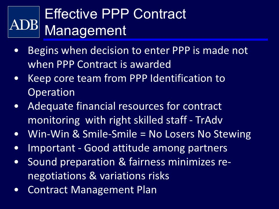 Effective PPP Contract Management