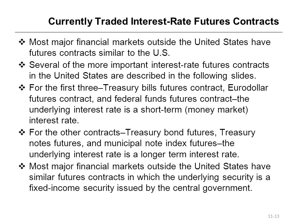 Currently Traded Interest-Rate Futures Contracts
