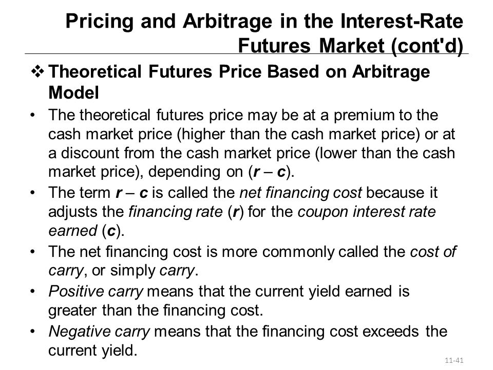 Pricing and Arbitrage in the Interest-Rate Futures Market (cont d)