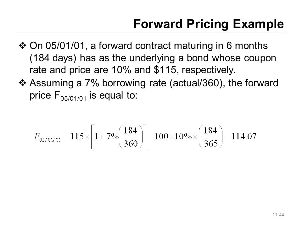 Forward Pricing Example