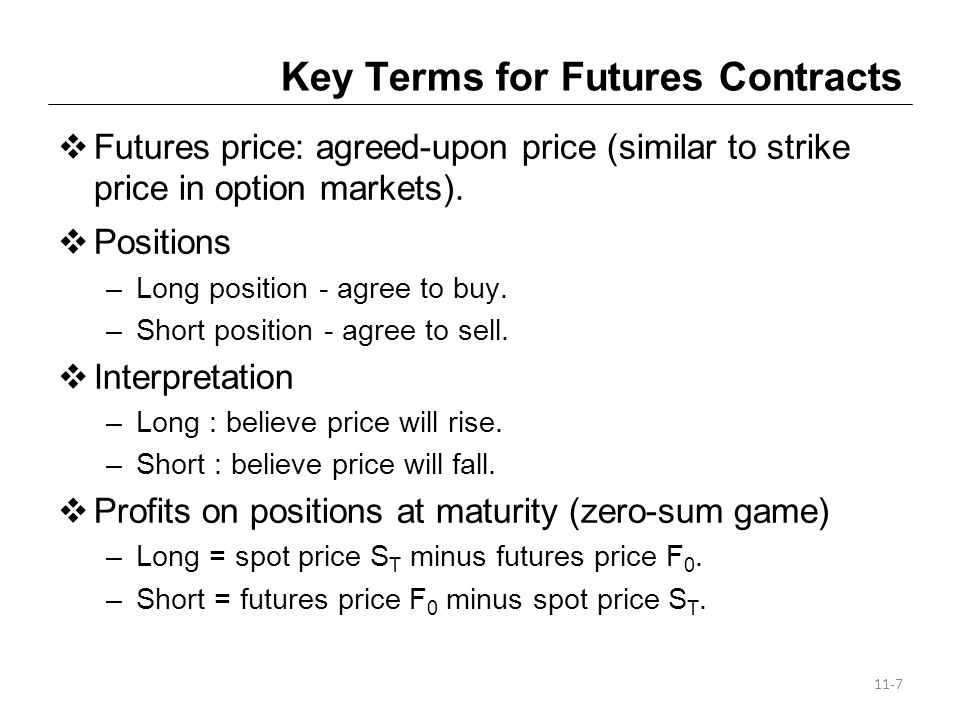 Key Terms for Futures Contracts