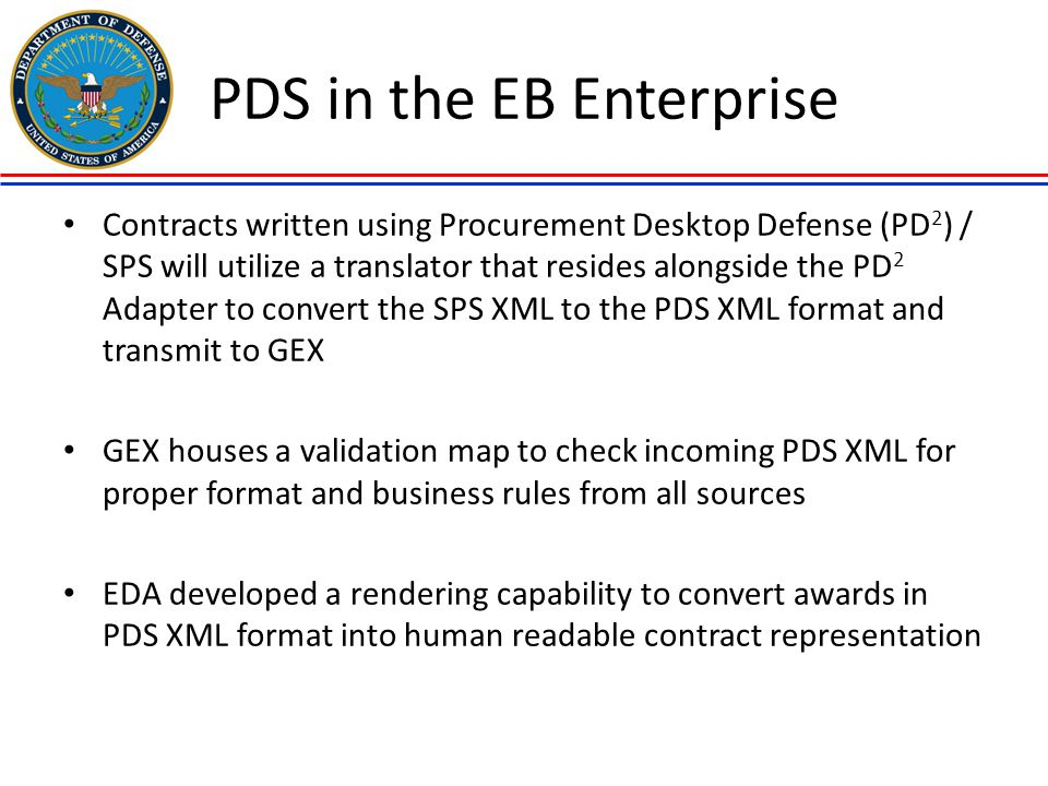 PDS in the EB Enterprise