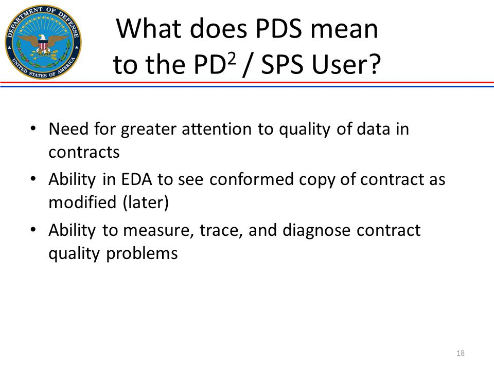 What does PDS mean to the PD2 / SPS User