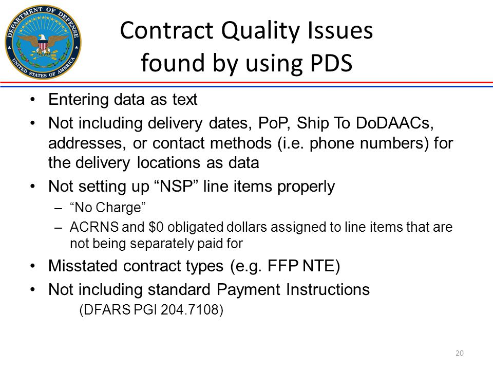 Contract Quality Issues found by using PDS