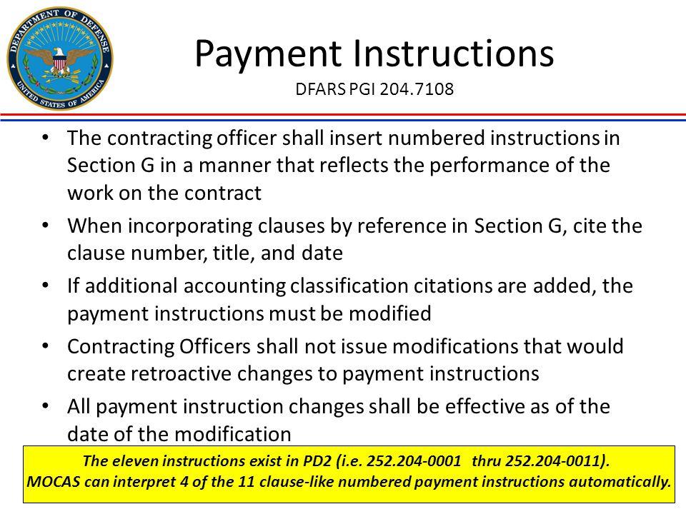 Payment Instructions DFARS PGI 204.7108