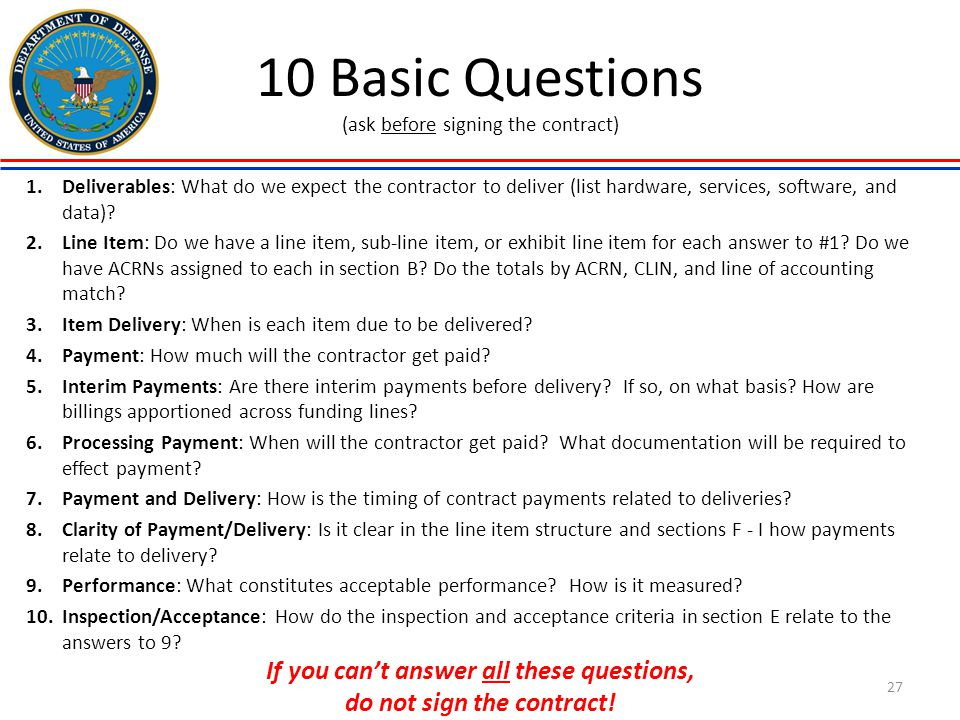 10 Basic Questions (ask before signing the contract)