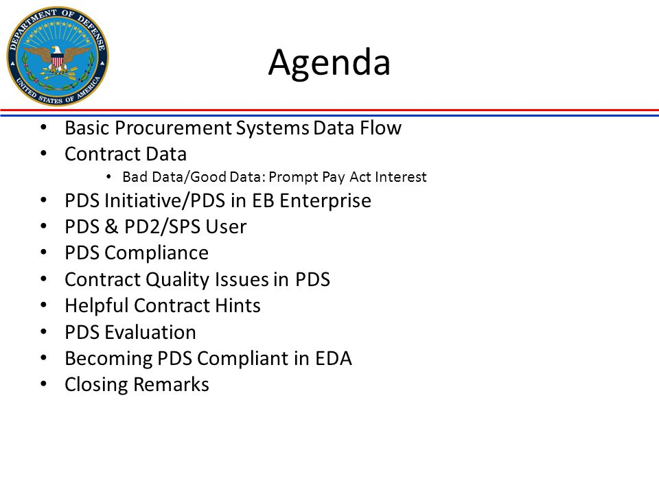 Agenda Basic Procurement Systems Data Flow Contract Data