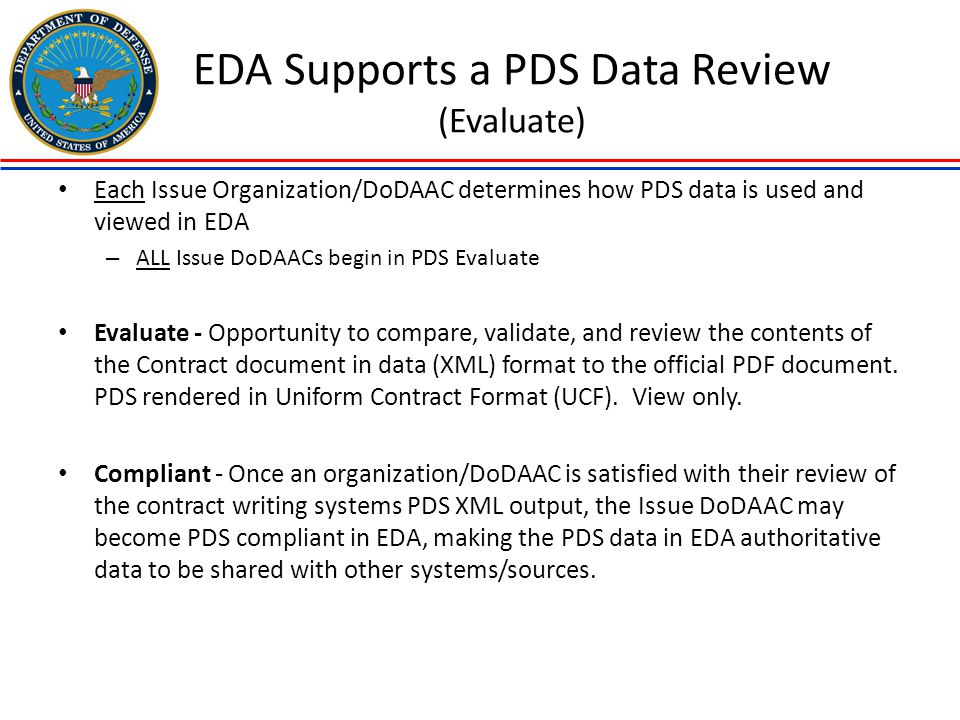 EDA Supports a PDS Data Review (Evaluate)