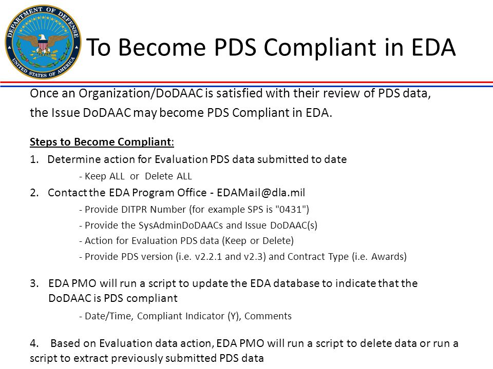 To Become PDS Compliant in EDA
