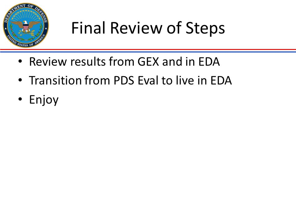 Final Review of Steps Review results from GEX and in EDA