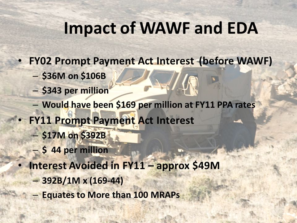 Impact of WAWF and EDA FY02 Prompt Payment Act Interest (before WAWF)