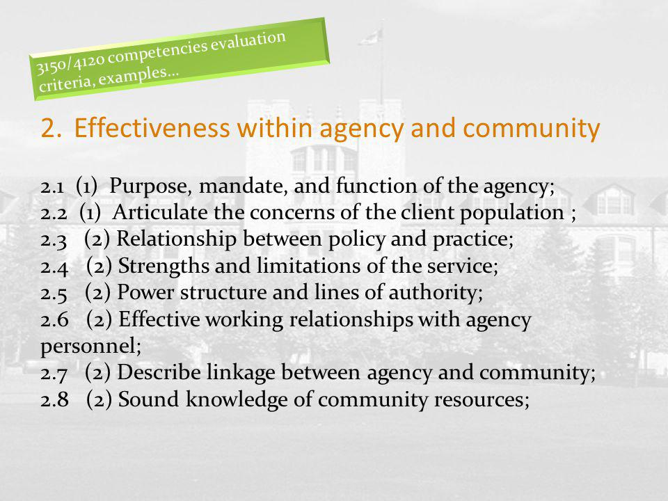 Effectiveness within agency and community