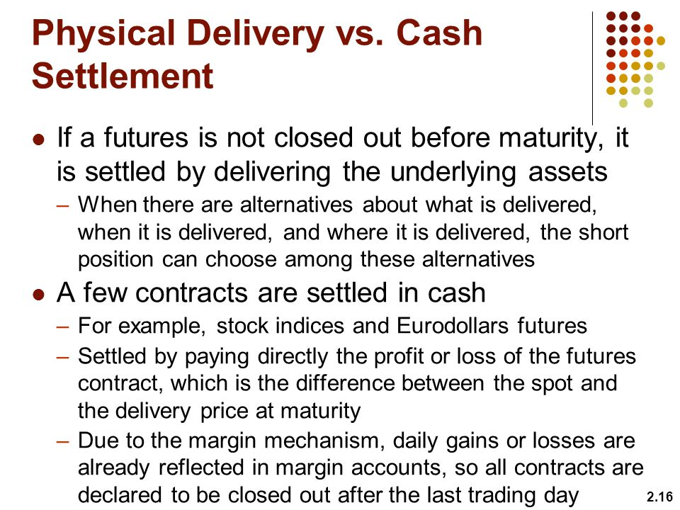 Physical Delivery vs. Cash Settlement