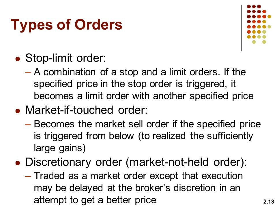 Types of Orders Stop-limit order: Market-if-touched order: