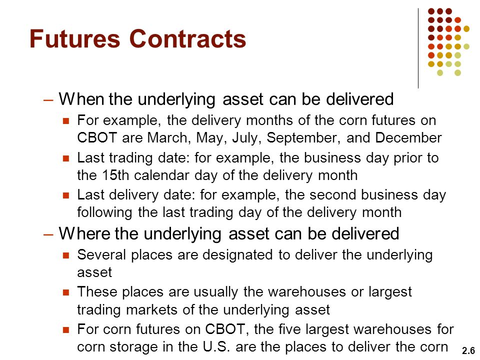 Futures Contracts When the underlying asset can be delivered