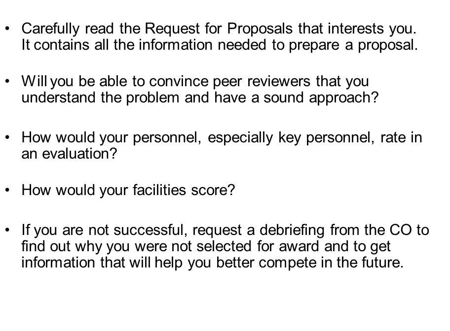 Carefully read the Request for Proposals that interests you