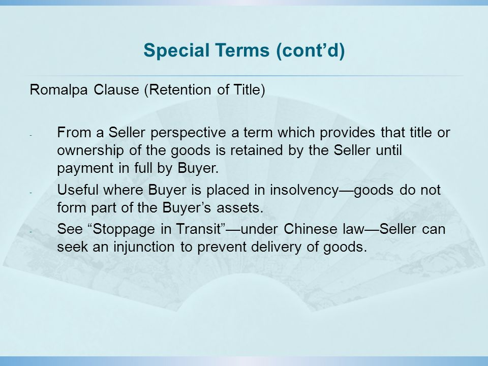 Special Terms (cont'd)