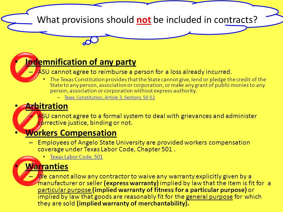What provisions should not be included in contracts