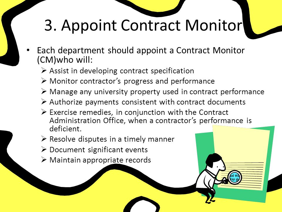 3. Appoint Contract Monitor