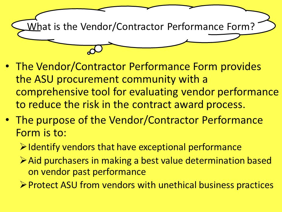 What is the Vendor/Contractor Performance Form